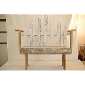 """3 Foot Barnwood Bench with picket fence back. Measures: 37 3/4"""" wide x 11"""" D x 42 1/2"""" tall to the top of the highest back picket. 17"""" tall to the bench seat. PLEASE NOTE: Color of barnwood may vary based on availability. This peice also must be assembled. (the bench is assembled, but must add back and sides)"""