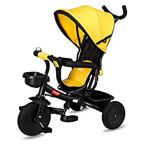 LuvLap-Galaxy-Baby-Cycle-Tricycle-for-Kids-with-parental-control-Rubber-WheelsTyre-15-to-2345-Yrs-3-in-1-upto-25Kg-Canopy-Safety-Belt-Metal-frame-Anti-slip-pedal-Front-Rear-Baskets