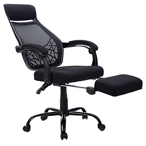 New High Mesh Back Reclining Home Office Chair Computer Desk Task w/ Pull Out Ottoman #848 - Massager Ottoman