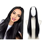 Black U Part Wig Synthetic Hair Extensions Clip in Long Straight Full Head Hair Pieces for Women ...