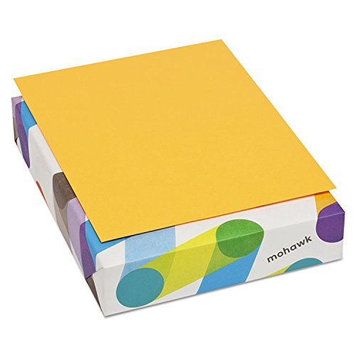 Archival Colored Paper - Mohawk BriteHue Ultra 20 lb., 8.5 x 11 Inch, Smooth Text Paper 500 Sheets/Ream - Sold as 1 Ream, Orange (101329)
