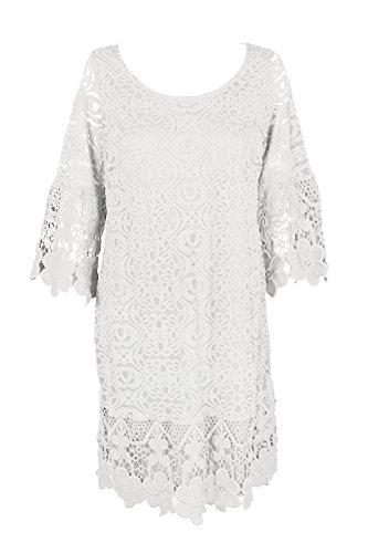 Alfani Femmes, Plus Crochet Manches Longues Robe Blanche Décontractée 2x