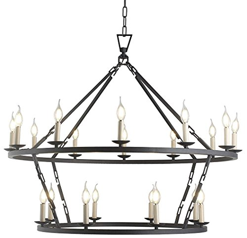 W41 XH34 Steel Frame 2 Tiers Rings Large Lantern Iron Art Design Candle-Style Chandelier Pendant, Foyer,Hallway,Ceiling Light Fixture (Aged Iron Black) (2 Lamp Tier)