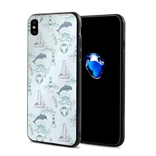 Phone Case Cover for iPhone X XS,Aquatic Elements Cute Dolphin with Seahorse Boat Lighthouse,Compatible with iPhone X/XS 5.8