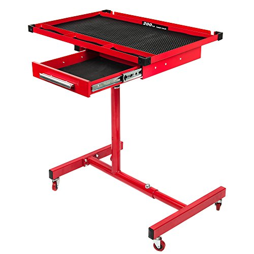 RTJ Roller Table Adjustable Rolling Work Table with Drawer, Red by RTJ