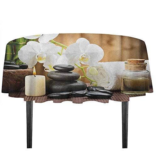 kangkaishi Spa Printed Tablecloth Asian Spa Style Arrangement with Zen Stones Candle Flowers and Bamboo Art Outdoor and Indoor use D59.05 Inch White Green and Black