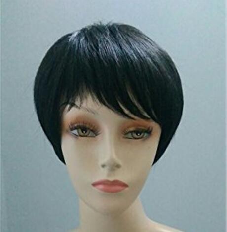 Peluca para mujer, de material sintético, pelo corto liso, aspecto realista, color