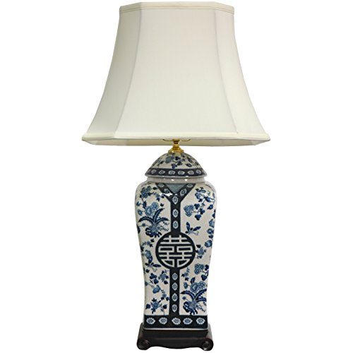 "Oriental Furniture 26"" Floral Blue & White Vase Lamp"