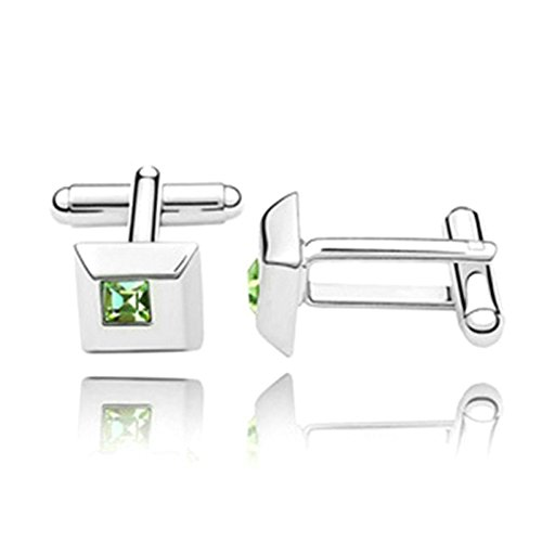 Novelty Silver Plated Cufflinks Square Crystal Cufflinks For mens womens Wedding Green CZ 1.1CM1.1CM1.75CM Unique tuxedo classic Cufflinks With Jewelry Box Aooaz Jewelry