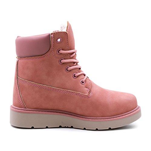 Unisex Damen Worker Boots Schnür Stiefeletten High Top Sneaker in Lederoptik warm gefüttert Pink