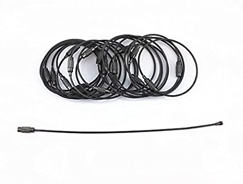 yueton 20pcs Stainless Steel Wire Keychain Cable Key Ring (Gun Black) (Black Cable Key Ring)