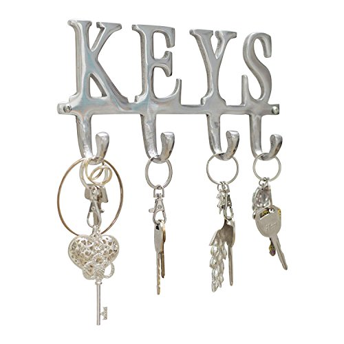"Comfify Key Holder ""Keys"" – Wall Mounted Key Holder - 4 Key Hooks Rack - Decorative Cast Aluminum Key Rack - Polished Finish - with Screws and Anchors (Keys AL-1507-20) ()"
