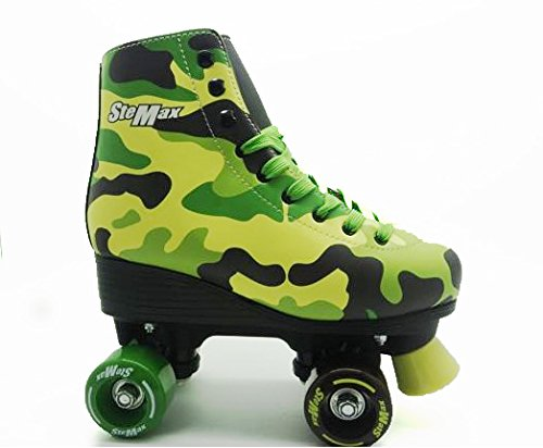 Stemax Quad Roller Skates for Girls ans Boys Outdoor Classic High Cuff Quad Skates with Lace System (Camouflage, 32) (Roller Girl Outfit)