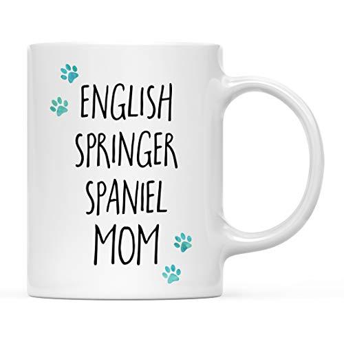 (Andaz Press Funny Dog Mom 11oz. Coffee Mug Gag Gift, English Springer Spaniel Dog Mom Pawprint Graphics, 1-Pack, Dog Lover's Christmas Birthday Ideas, Includes Gift Box)
