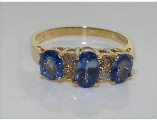 9ct Yellow Gold Ladies Ceylon Sapphire & Diamond Ring - Finger Sizes H to Z Available