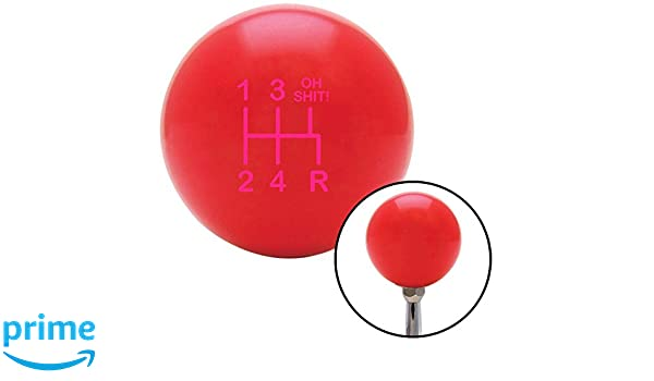 American Shifter 100605 Red Shift Knob with M16 x 1.5 Insert Pink Shift Pattern OS15n