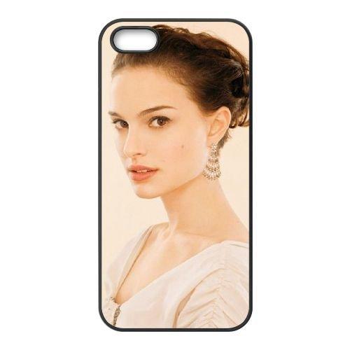 Beautiful Natalie Portman coque iPhone 5 5S cellulaire cas coque de téléphone cas téléphone cellulaire noir couvercle EOKXLLNCD22103
