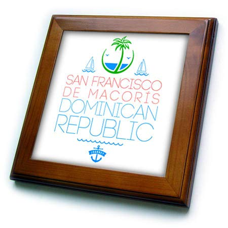 (3dRose Alexis Design - Cities Dominican Republic - San Francisco de Macoris, Dominican Republic City. Summer Journey - 8x8 Framed Tile (ft_312473_1) )