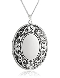 """Sterling Silver Extra Large Embossed Oval Pendant with Antique Finish Locket Necklace, 30"""""""