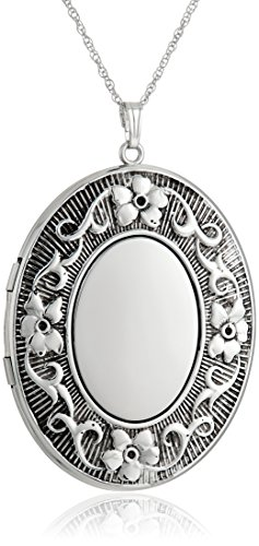 Sterling Silver Extra Large Embossed Oval Pendant with Antique Finish Locket Necklace, 30
