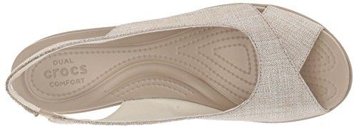 Wedges Oyster Women's Shimer Crocs Ann Leigh Slingback Cobblestone SPCWqZx