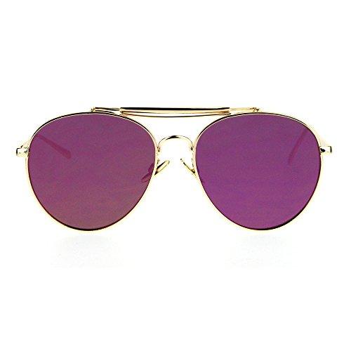 Vintage Retro Aviator Mirror Lens Sunglasses Purple - 8