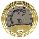 Don Salvatore Round Gold Finish Digital Hygrometer/Thermometer