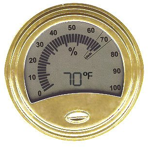 Don Salvatore Round Gold Finish Digital Hygrometer/Thermometer