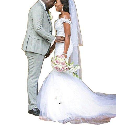 Holygift Women's A-Line V-Neck Strap Tulle Appliques Princess Spring Chiffon Beach Wedding Dress White ()