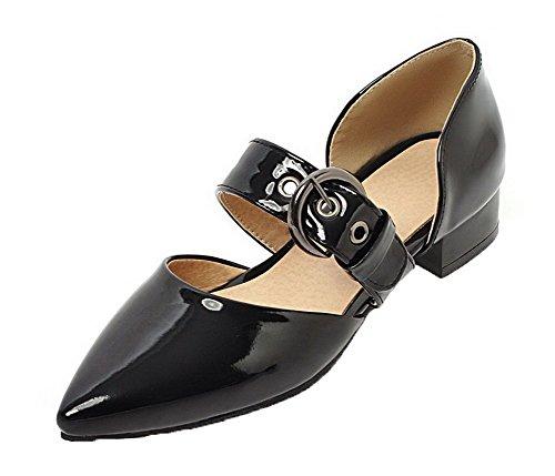 Puro Punta VogueZone009 Pelle di Basso Ballet Scarpe Flats Nero Maiale Tacco A Donna xCOIOqB0w
