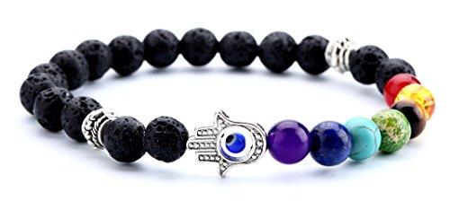 Doitory Men Women 8mm Lava Rock Chakra Beads Bracelet Elastic Natural Stone Yoga Bracelet Bangle(Hamsa Hand)