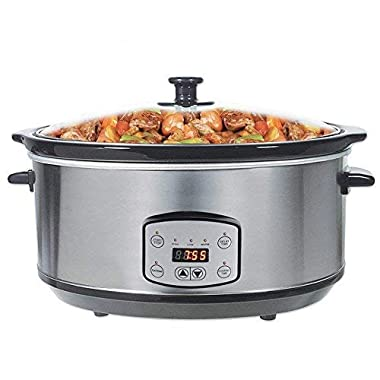 Greatic 4.5L Digital Programmable Slow Cooker with Cooking Settings, 5 quart with Removable Black Ceramic
