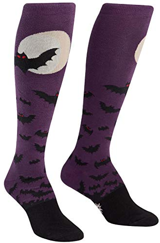 Sock It To Me Womens Knee High Funky Batnado Socks,Purple, Black,One Size ()