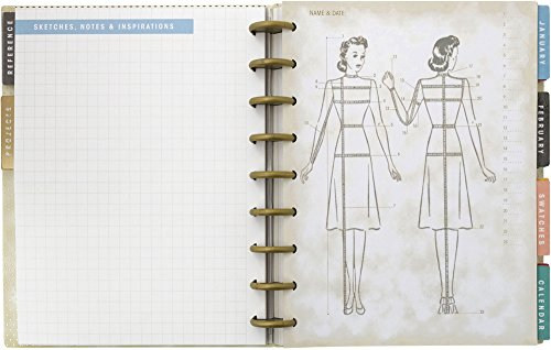 8.6 x 9.5 232 Pages Simplicity Vintage Vintage Fashion Sewing 12 Month Planner