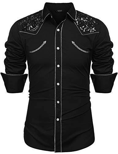 COOFANDY Mens Stylish Sequin Embroidered Western Long Sleeve Button Down Shirt