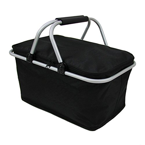 (Imperial Home Insulated Folding Picnic Basket - Insulated Cooler with Carrying Handles (Black))