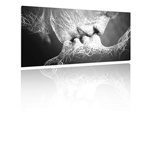 Kiss Wall - GOUPSKY Kiss Canvas Painting Black and White Picture Frames Romantic Kissing Couple Wall Art Decor Giclee Print Artwork 16X24 inch Stretched and Framed Ready to Hang