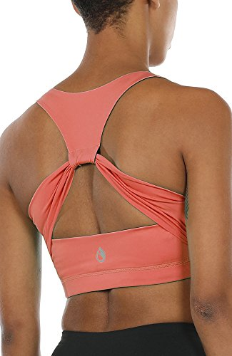 Top Dance Crop (icyzone Workout Yoga Clothes Activewear Moving Comfortable Racerback Sports Bras (L, Fusion Coral))