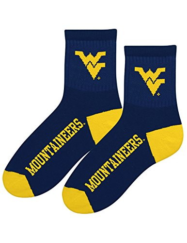 Collegiate Football Crew Socks - West Virginia Mountaineers - Acrylic Blend