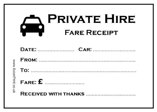 100 Sheet Pads Licensed Taxi Minicab Receipt Pads TAXI RECEIPTS