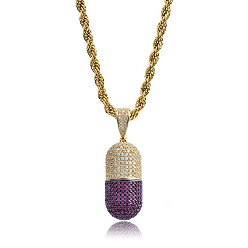 TOPGRILLZ Pill Bottle PX Capsule Pendant Necklace Chain Men's 14K Gold Plated Iced Out CZ Hip Hop Jewelry (Gold Capsule)