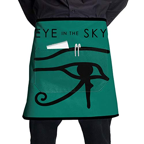 Create Magic - Eye in The Sky Low Crease Half Waist Apron with 2 Pockets for Home Kitchen Garden Restaurant Cafe Bar Pub Bakery for Unisex Men and Women