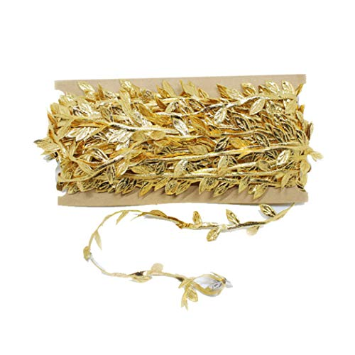 hain Ribbon Flower Chain Ribbon DIY Decorations for Weding Festival Stage Room Hat Tree Hat Curtain Garden Wall (32yd, Gold Leaf) ()