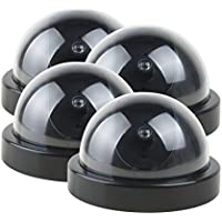 uxcell 4 Pcs Fake Pretend Dummy Dome Realistic Looking Security Camera Red LED Light Detection Sensor