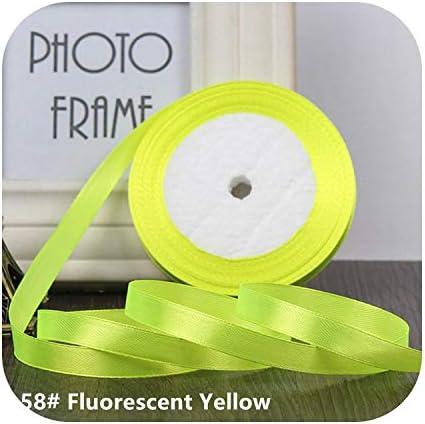 kawayi-桃 25ヤード/ロールグログランサテンリボン結婚式のクリスマスパーティーの装飾6mm-40mm DIY弓クラフトリボンカードギフト-Fluorescent Yellow-15mm