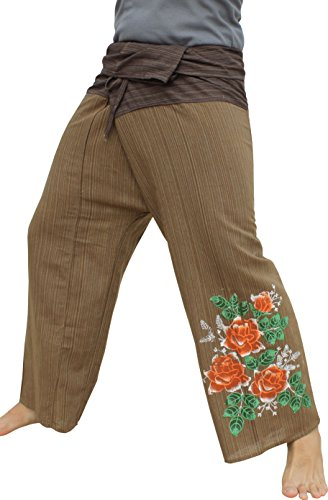 Raan Pah Muang RaanPahMuang Striped Cotton Two Toned Fisherman Pants HandPainted Rose Flower, Medium, Brown (Flower Two Toned)