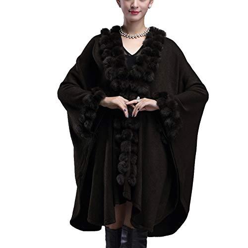 LIULIFE Capa para Mujer Otoño Invierno Faux Faux Mantón De Piel De Gran Tamaño Punto Suéter Abrigo Superior Prendas De...