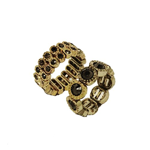 Gold Tone Rhinestone Ring (Arial Ring - Stretch Fashion Ring with Gray Rhinestone, 2 bands in Gold)