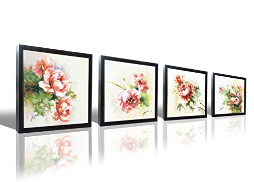 Hongwu Flower Wall Art Canvas Prints-Rose Pictures Framed Art Prints 4 Panels Floral Canvas Painting Ready to Hang for Wall Decor 14x14inch