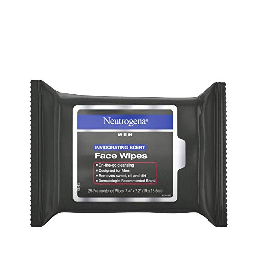 Neutrogena Men Invigorating Scent Face Cleansing Wipes, Pre-moistened Travel Facial Wipes for On-the-go Cleansing, Oil-free & Alcohol-free, 25 Count ()